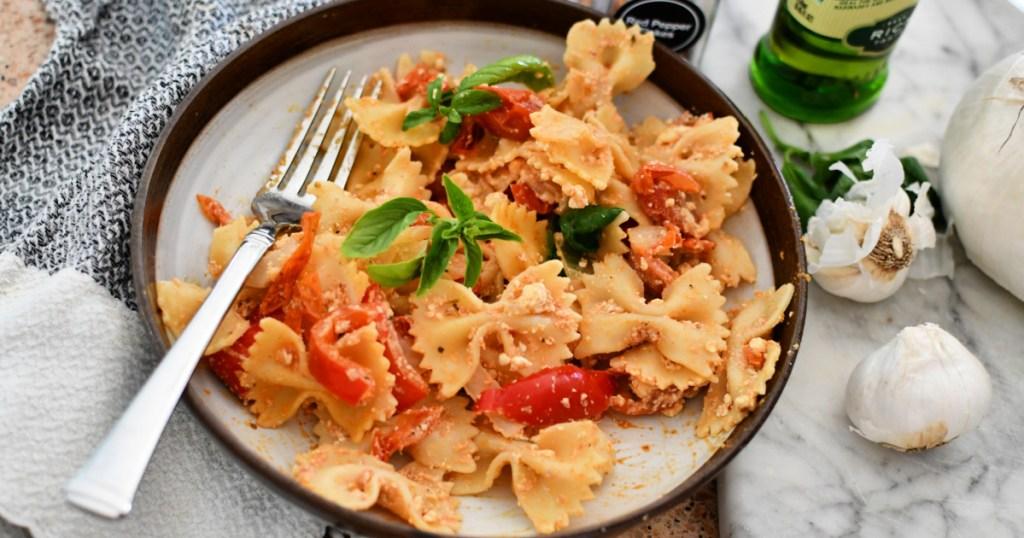 plate with viral tiktok feta pasta