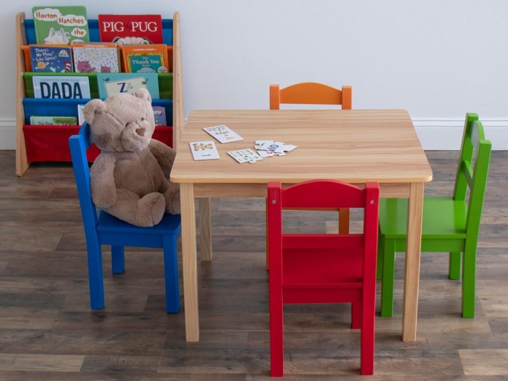children's table, chairs, and bookshelf