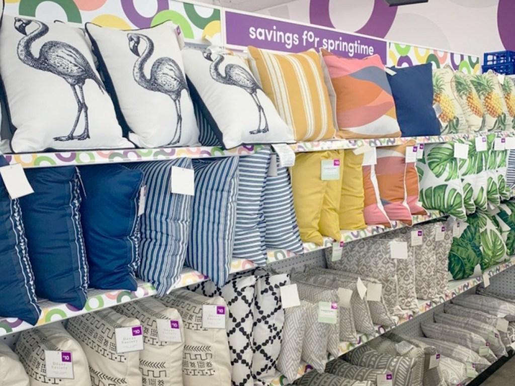 pillows on shelves at pOpshelf store