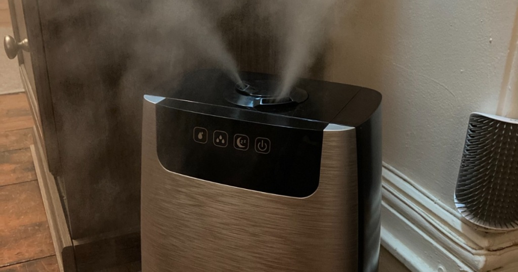 pure enrichment cool mist humidifier with mist coming out