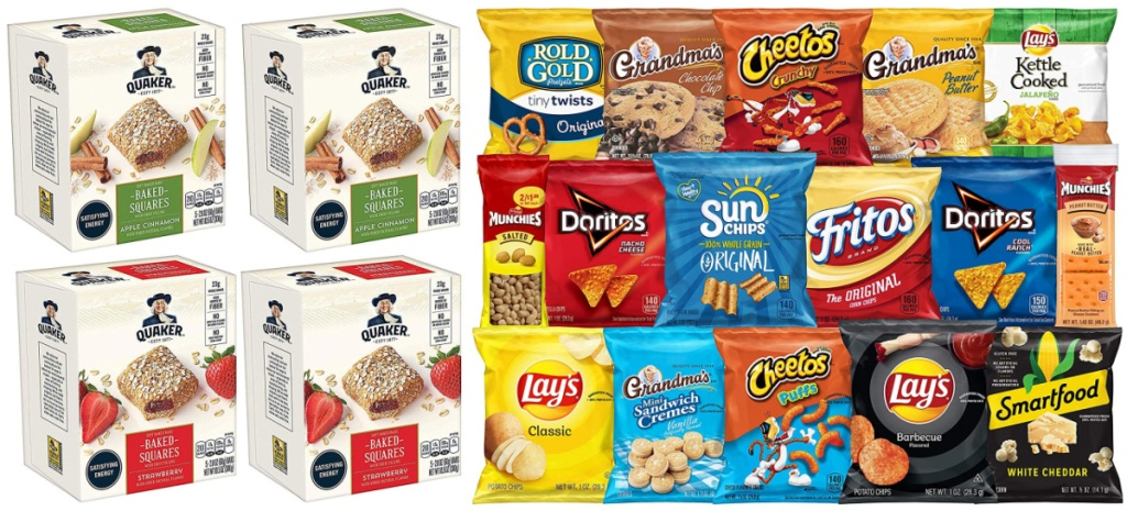 quaker baked squares and frito-lay ultimate snack pack