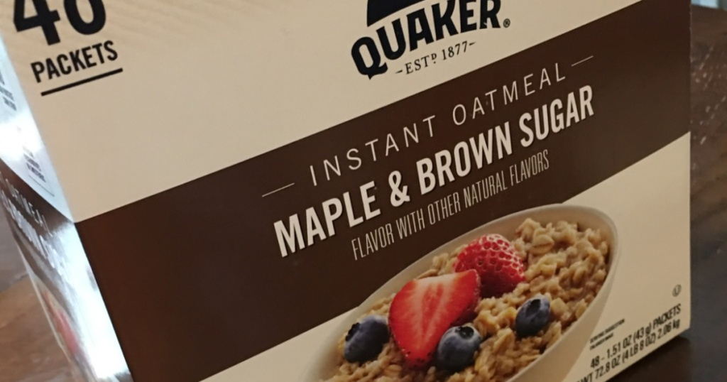 box of oatmeal packets in maple/Brown sugar