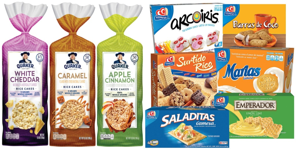 quaker rice cakes and gamesa cookie variety pack