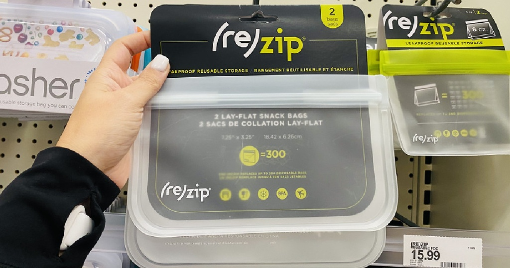 hand holding up a pack of reZip Snack Bags at Target