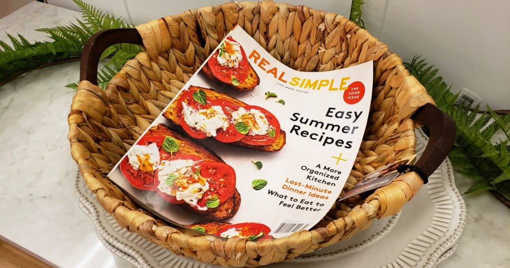 real simple magazine in basket