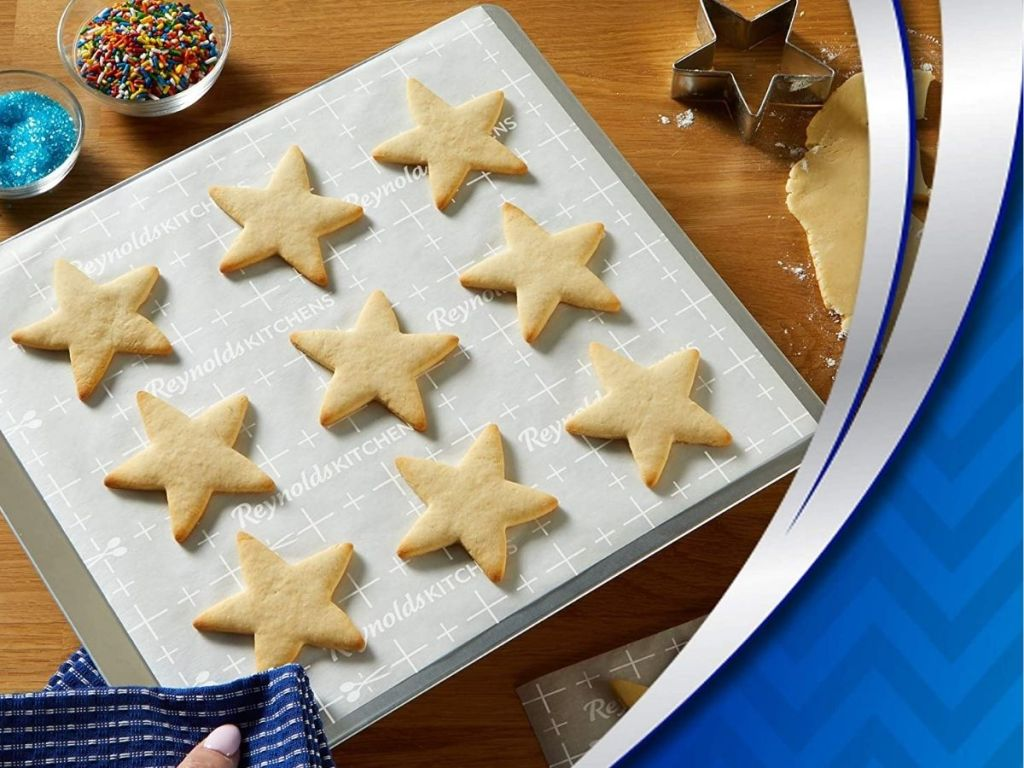 star cut out cookies on parchment paper