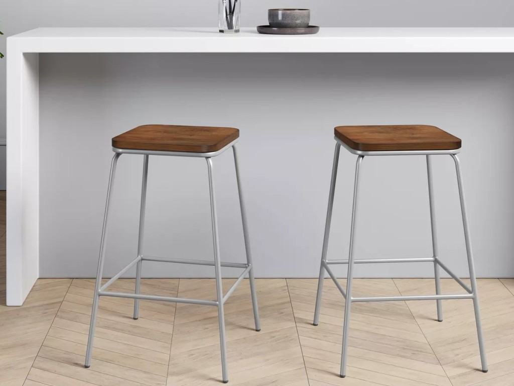 wodden barstools with silver legs