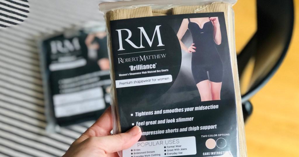 robert matthew shapewear in hand in package