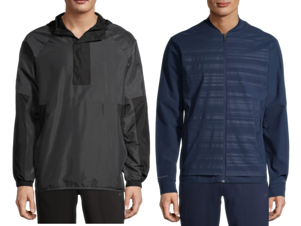 russell men's black anorak jacket and blue jacket