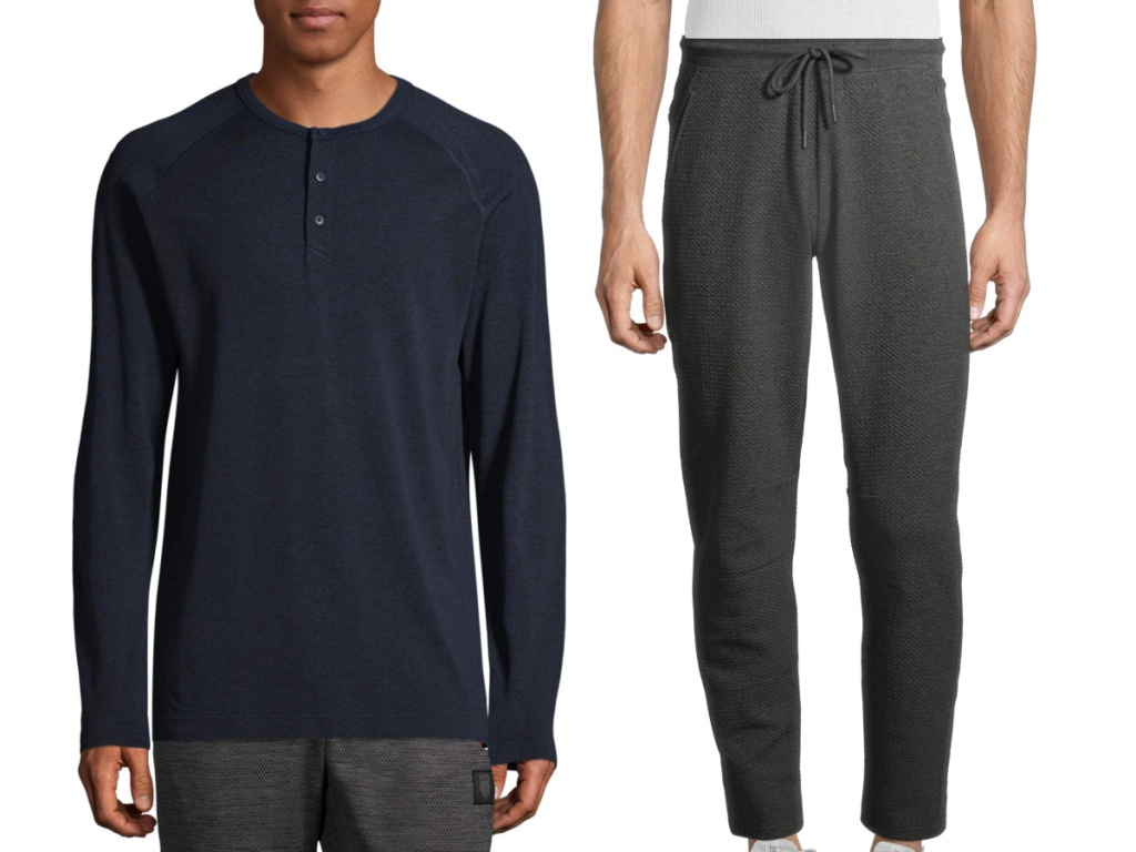 russell mens henley top and yoga pants