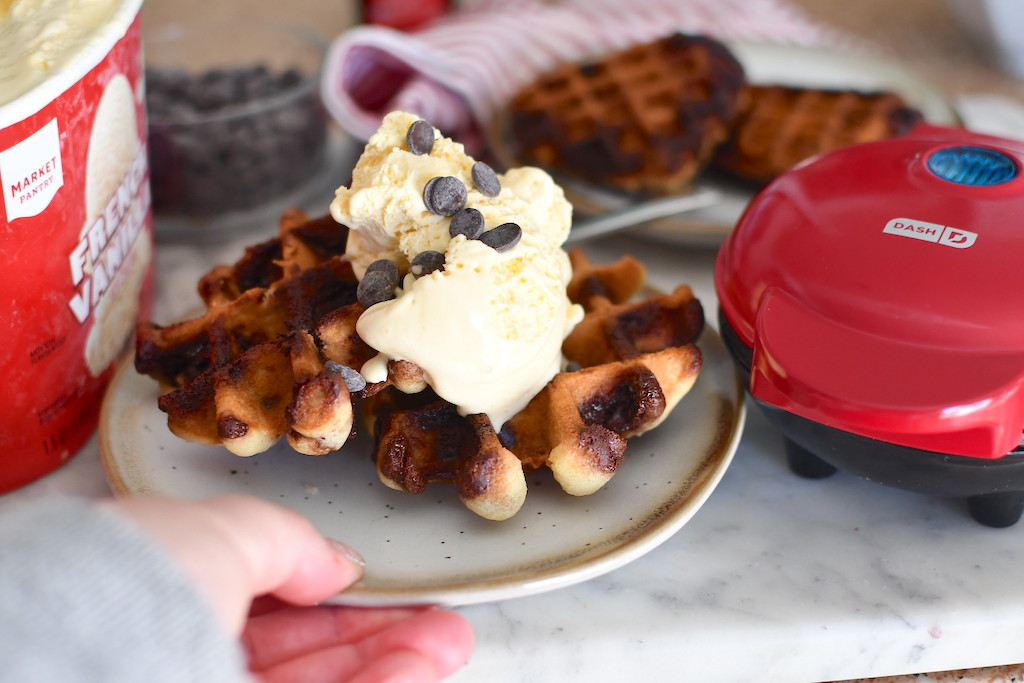 serving cookie waffles with ice cream and chocolate chips