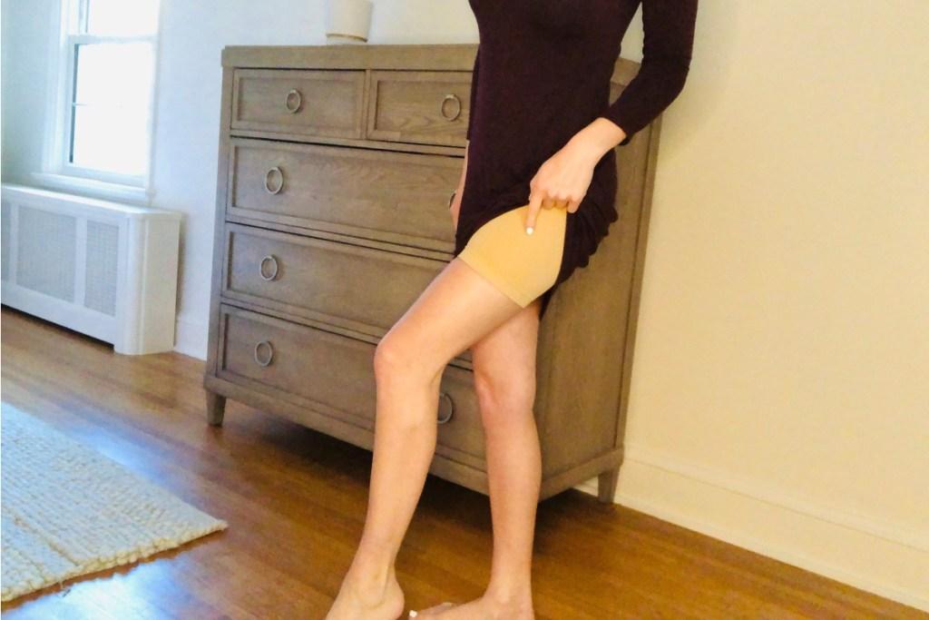 robert matthew shapewear with dress on