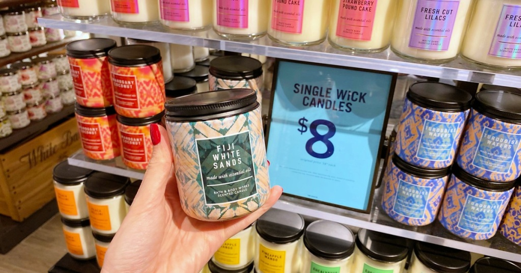 single wick candles at bath and body works