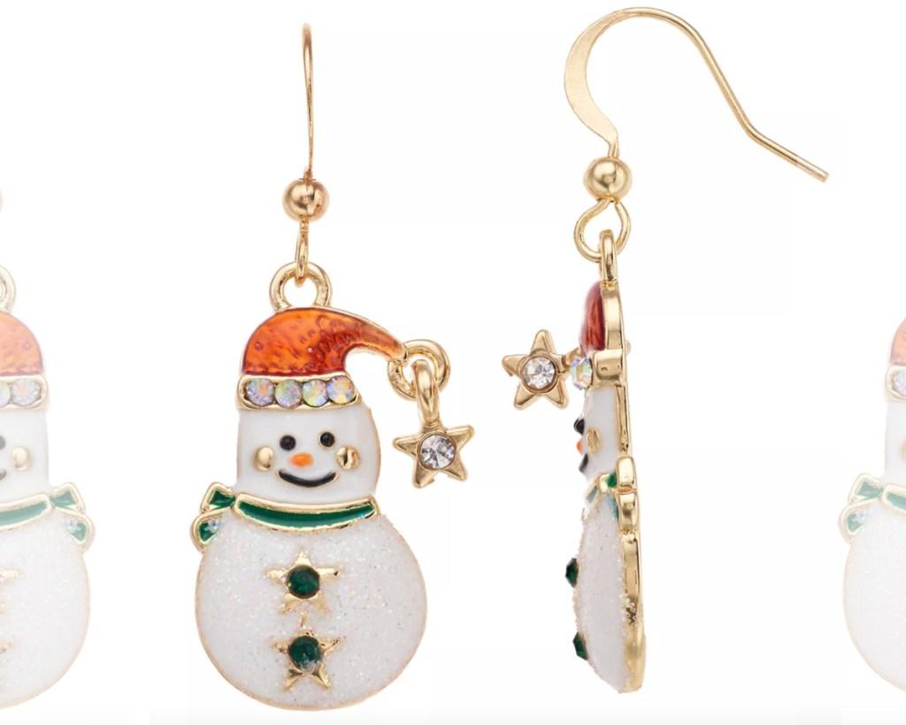 snowman drop earrings