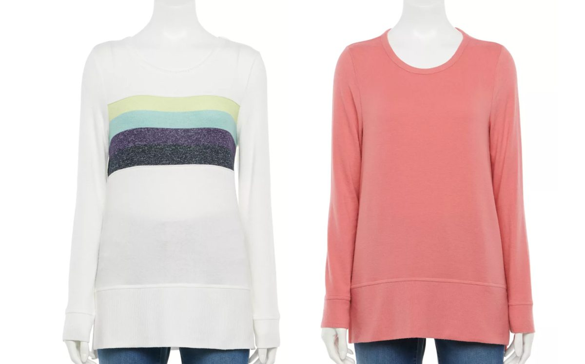 sonoma goods for life long sleeve blue stripe and coral