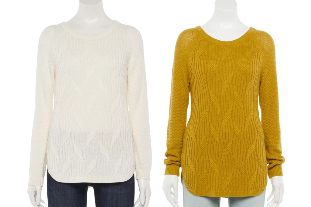 sonoma goods for life raglan sweater white and yellow