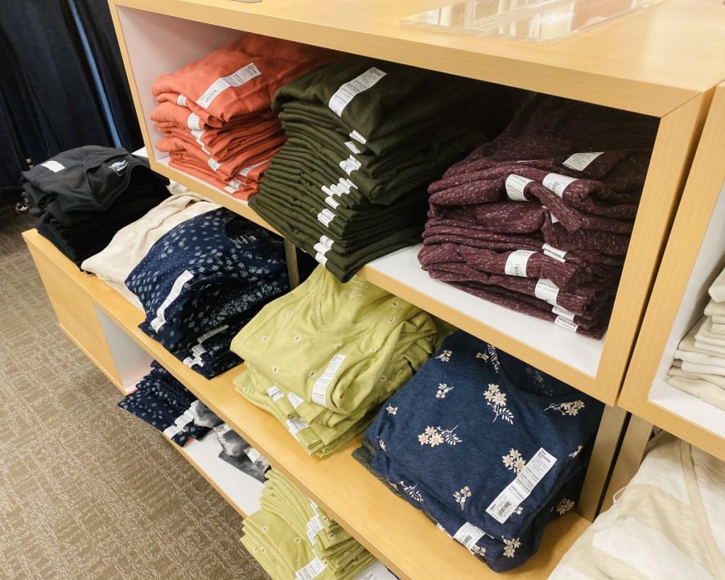 many sonoma goods for life womens tees folded on shelves