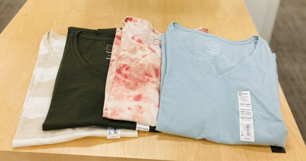 many sonoma womens tees folded in store