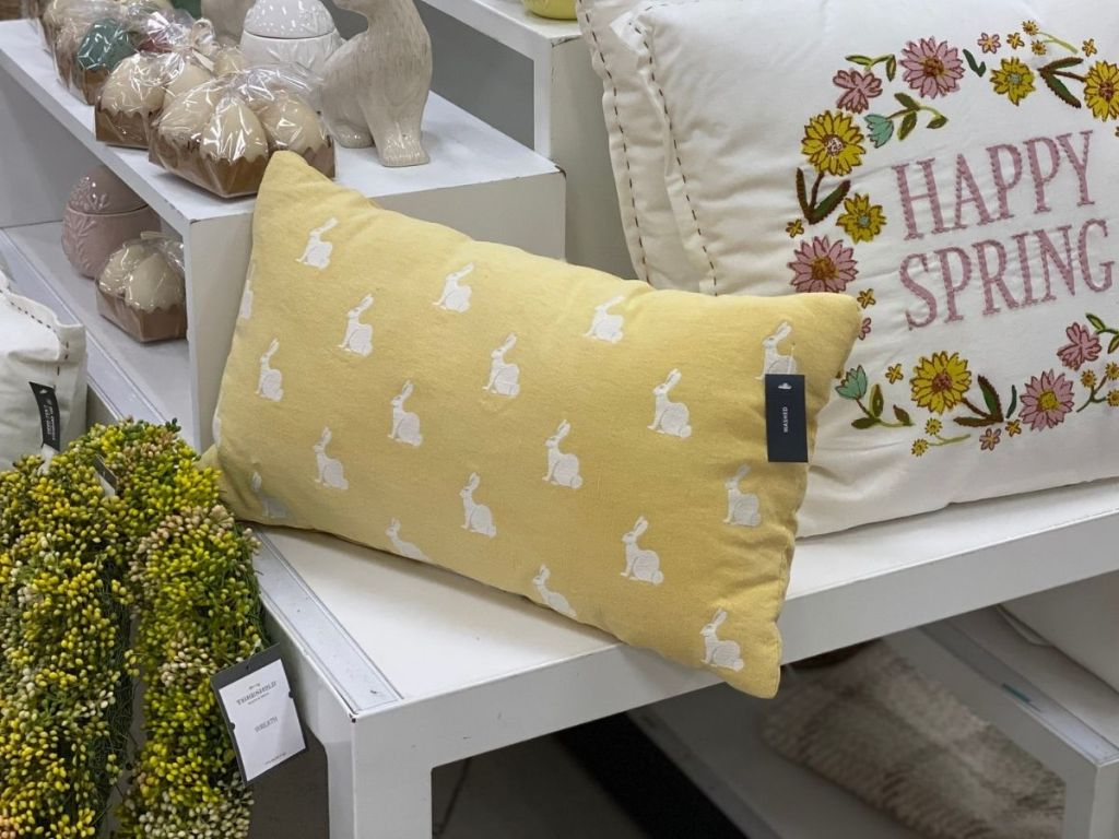 yellow rectangle pillow with white bunnies