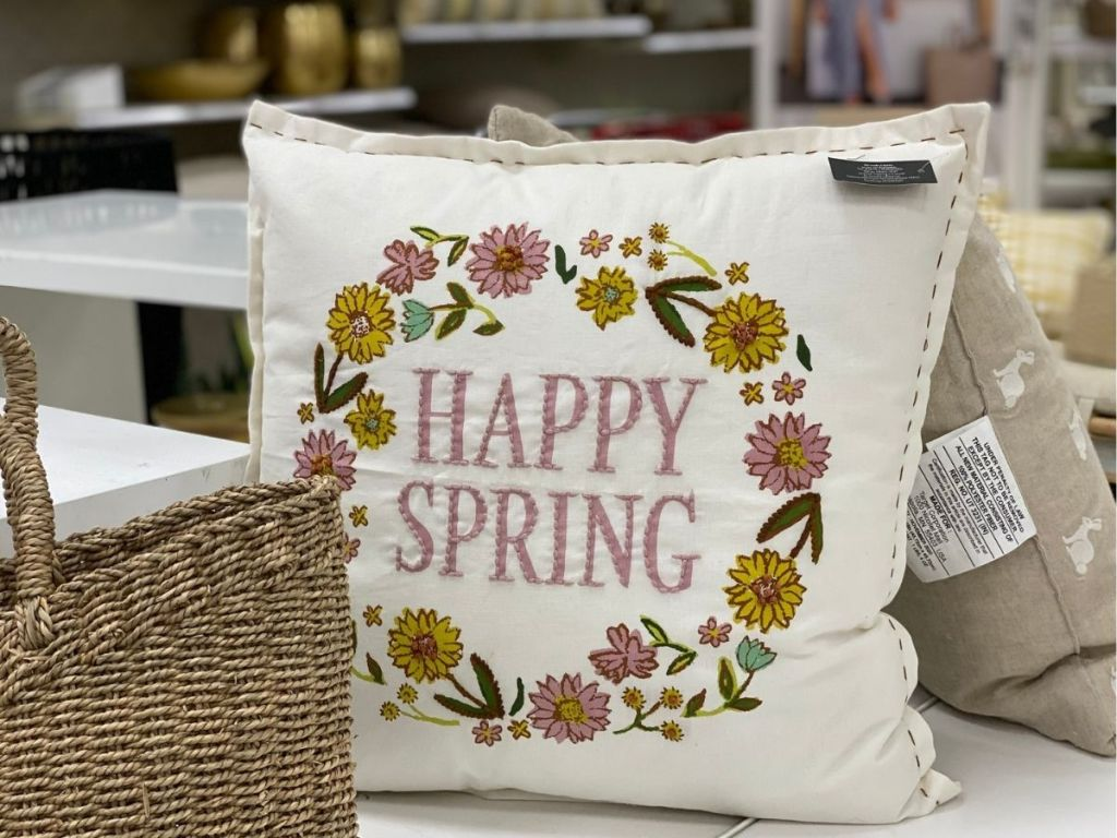 Happy Spring embroidered throw pillow