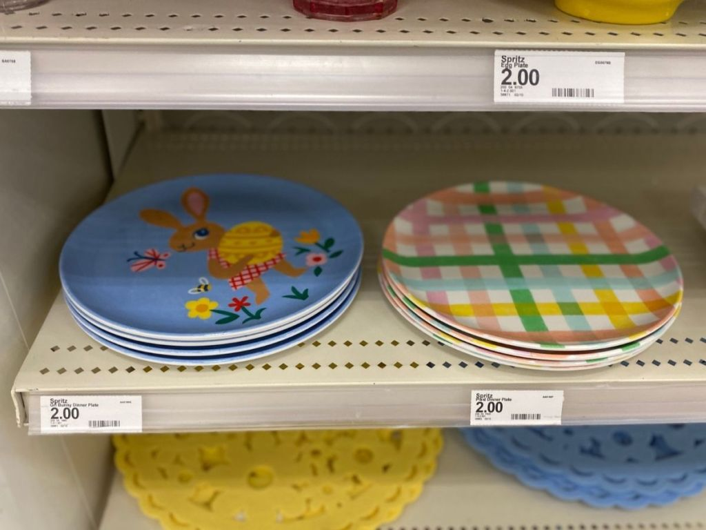 bunny and plaid dinner plates on store shelf