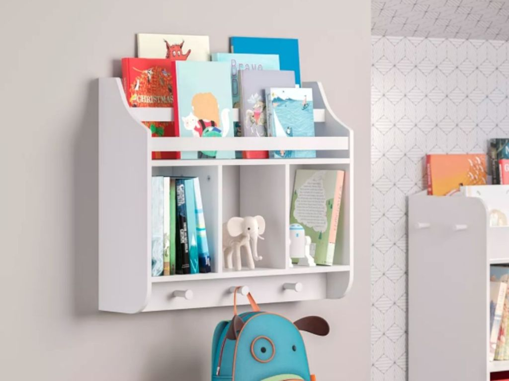 white storage shelf and bookcase