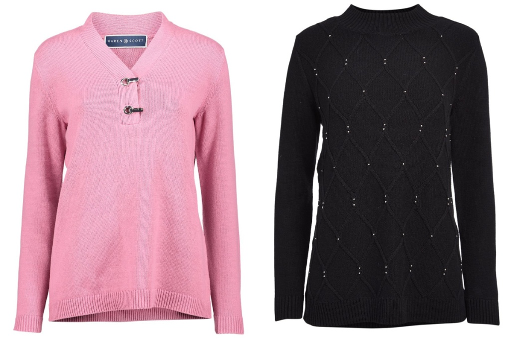 pink and black sweaters