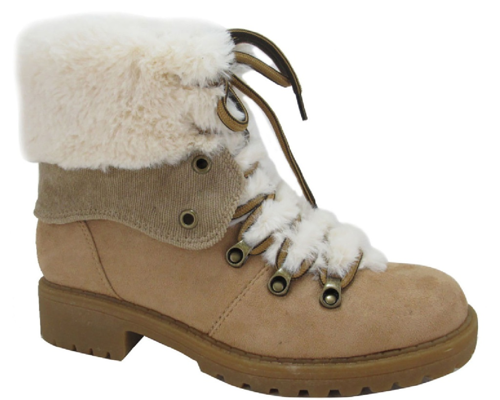 tan hiking boot w/ faux fur