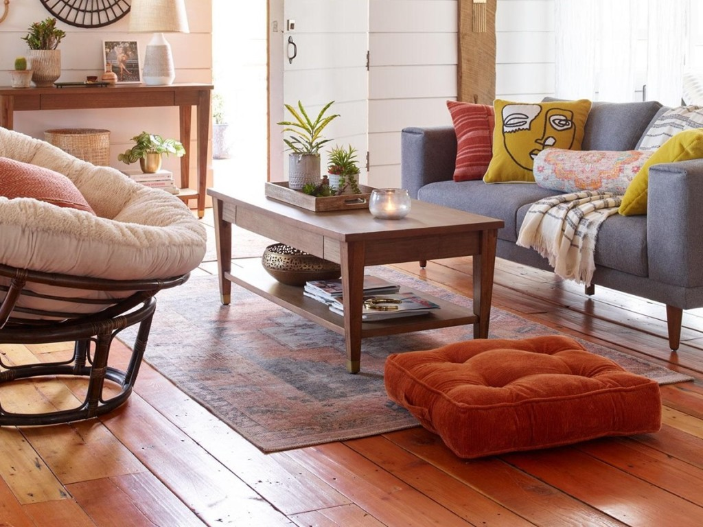 wood tapered-leg coffee table in living room