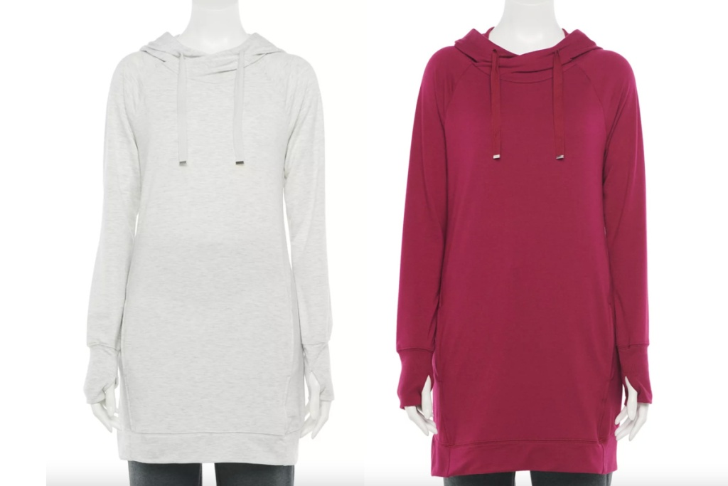 tek gear hooded tunic white and maroon