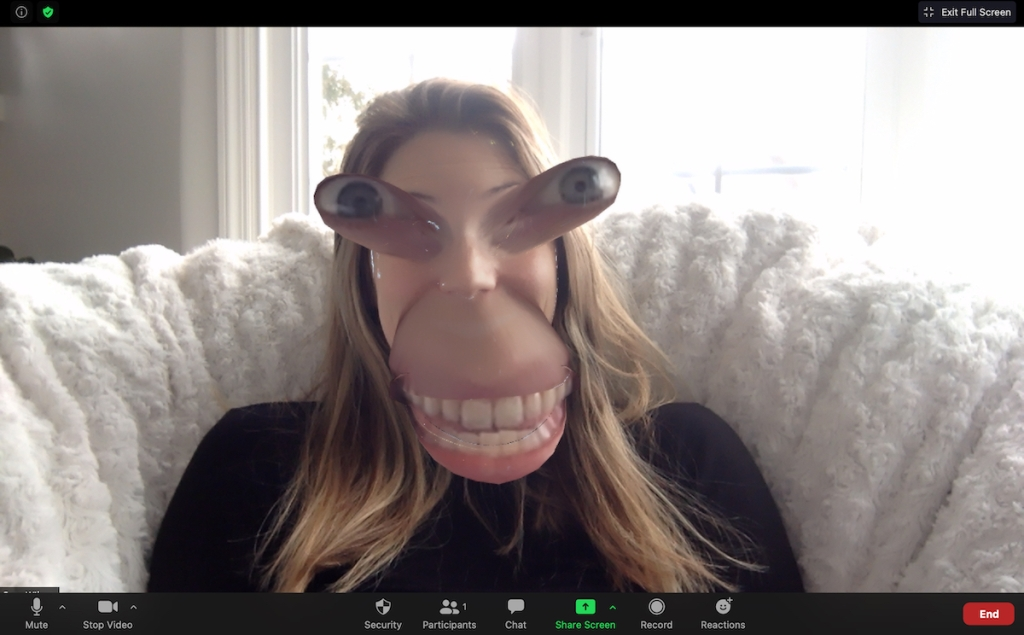 woman with huge mouth and eyes using funny zoom background