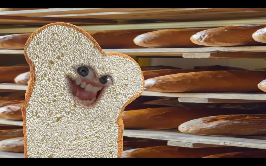funny piece of toast bread with funny zoom bakery background