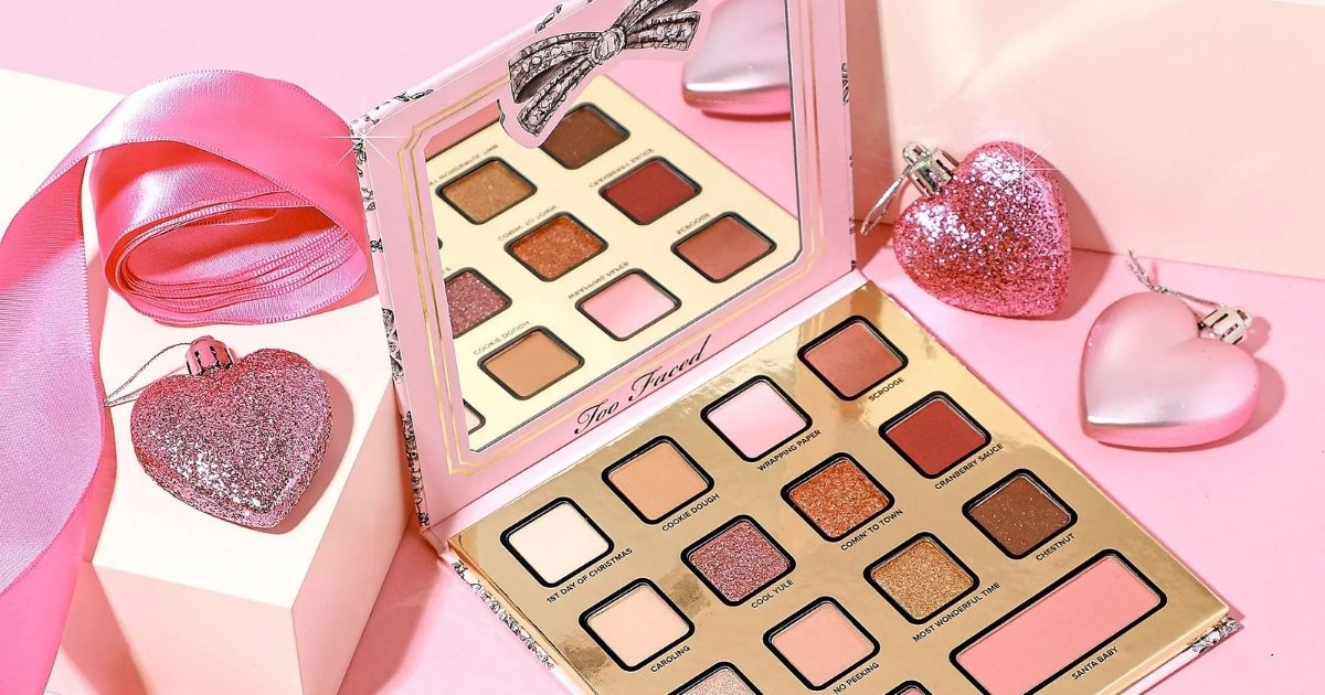 too faced palette with heart ornaments