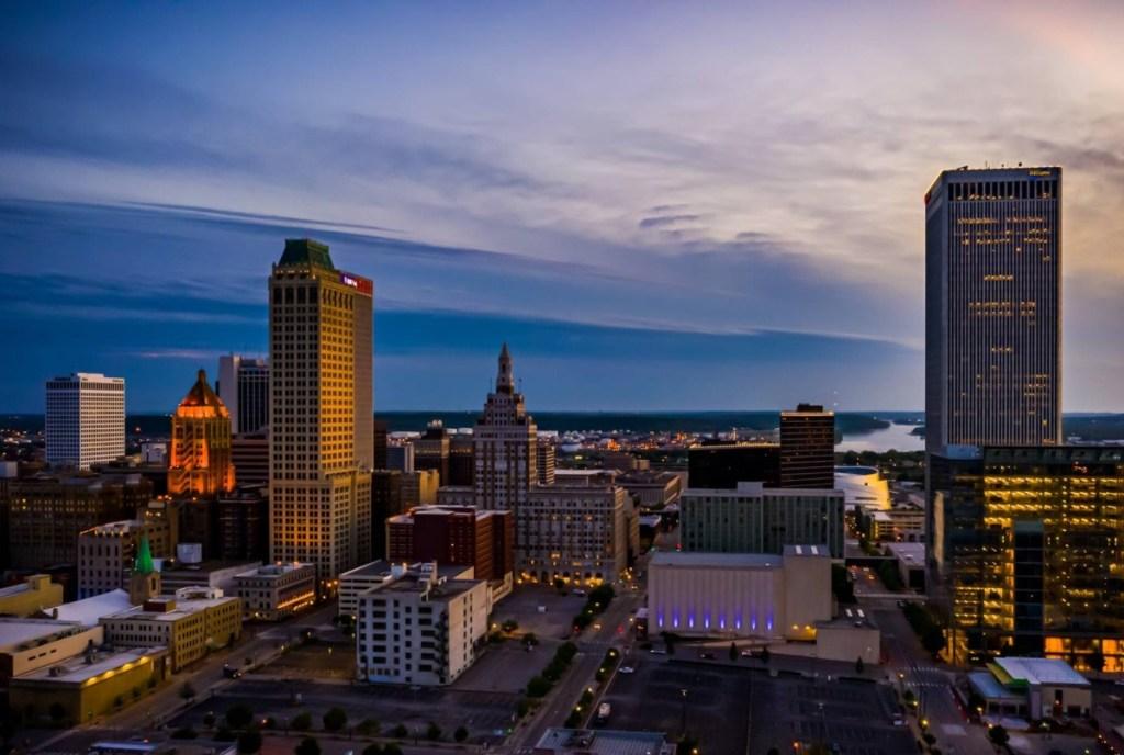 Tulsa, OK skyline at dusk