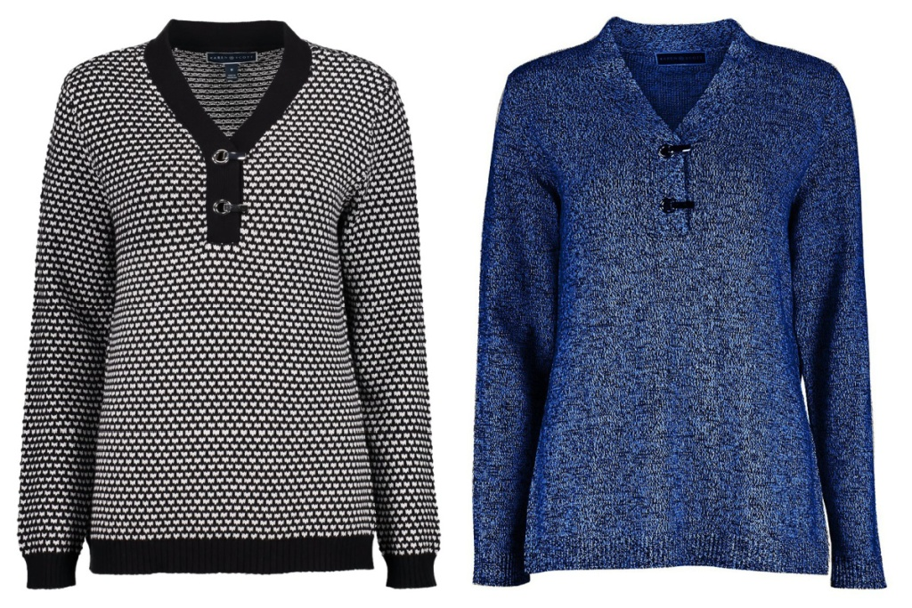 two womens sweaters black and blue