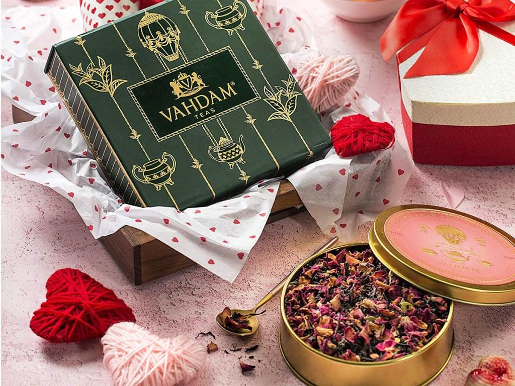 vahdam rose tea in gift tin