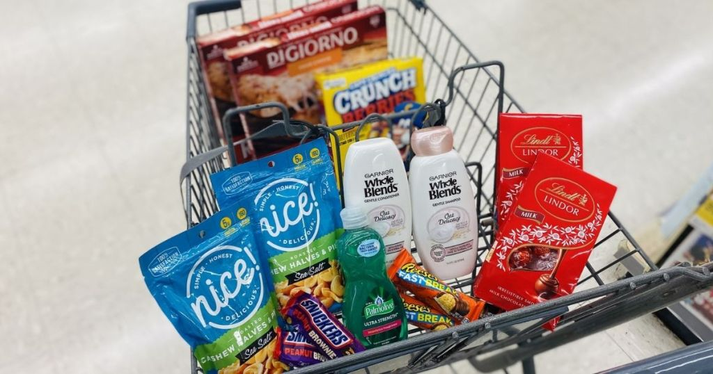Walgreens cart filled with groceries and home items