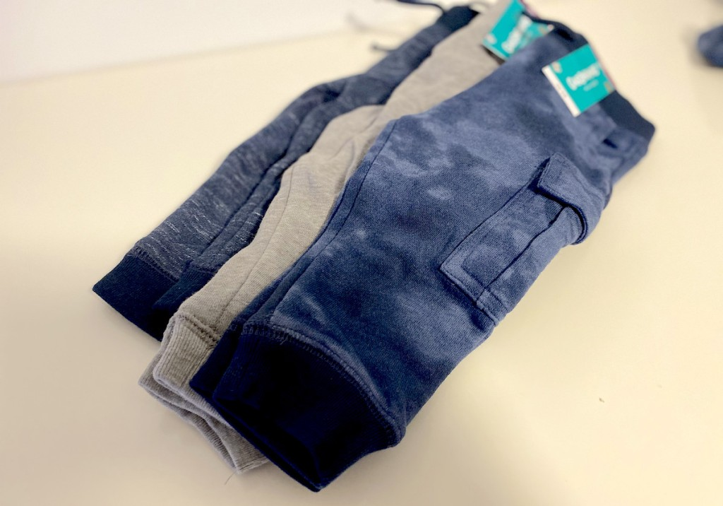 pile of blue and gray toddler garanimals joggers