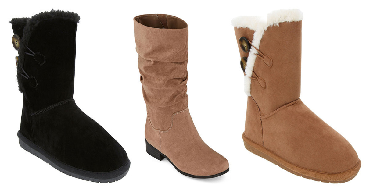 three stock images of womens winter boots