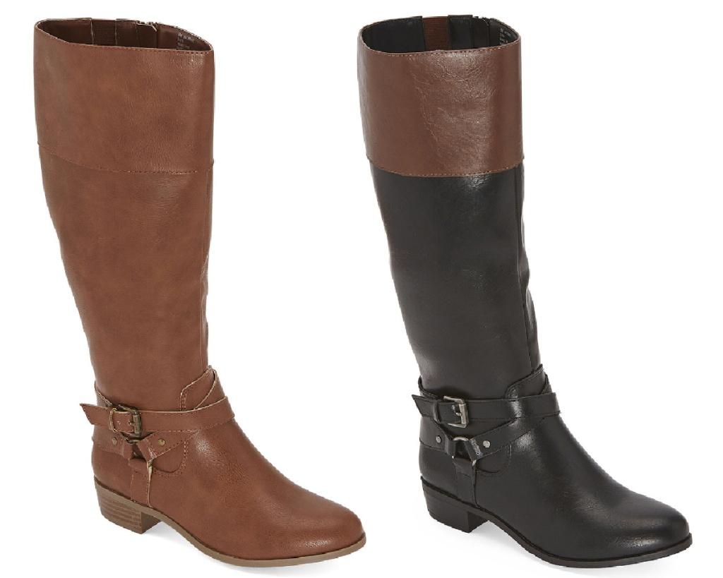 womens knee high riding boota brown and black