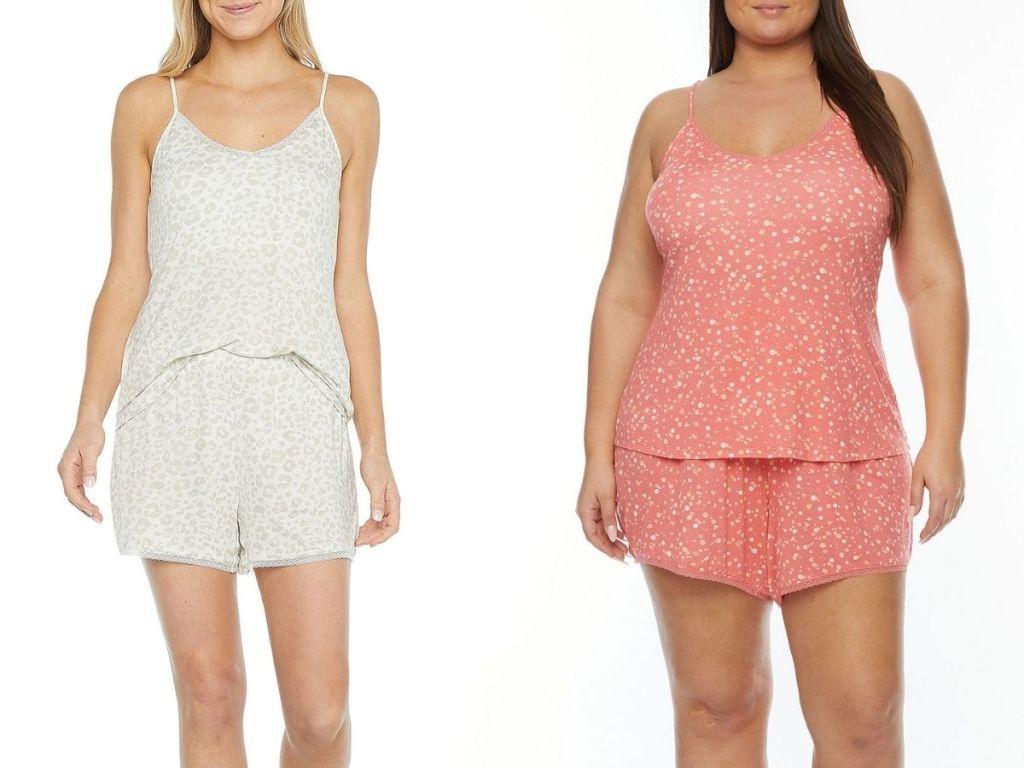 women wearing 2-piece pajama sets