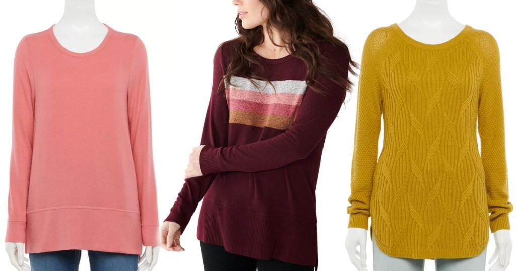 three womens sonoma sweaters