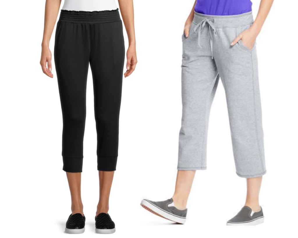 womens sweatpants in black and gray