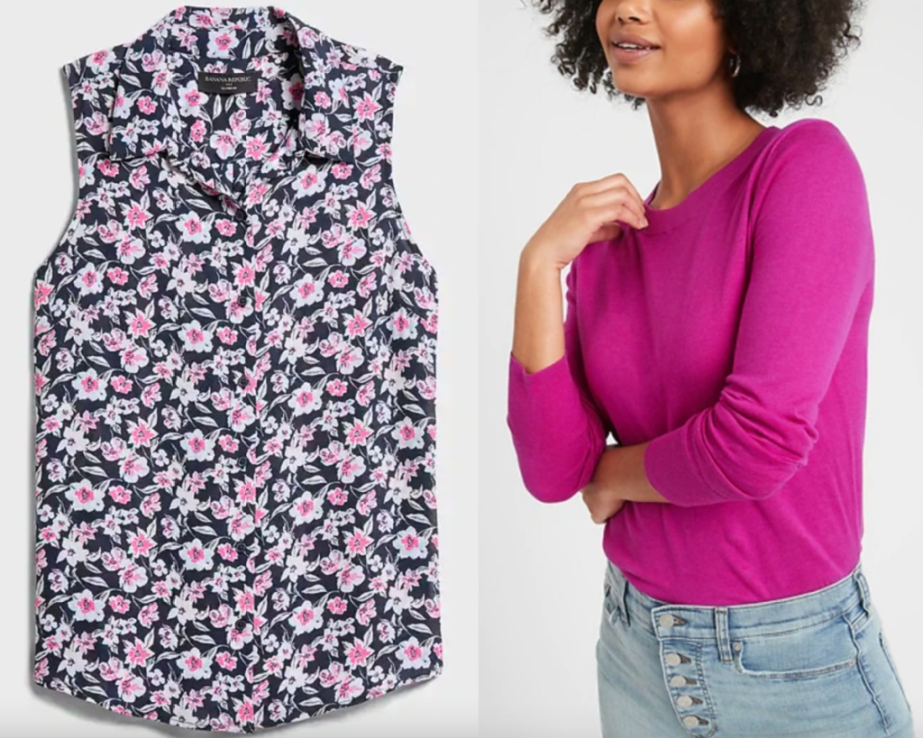 womens tops floral blouse and pink sweater