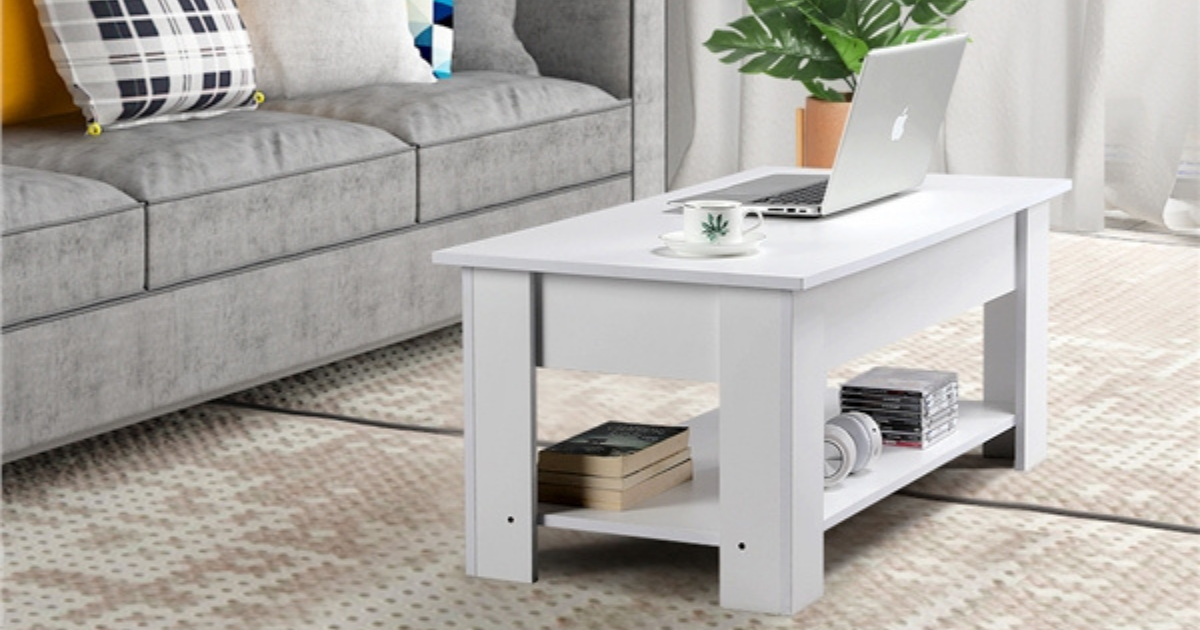 white accent table in living room