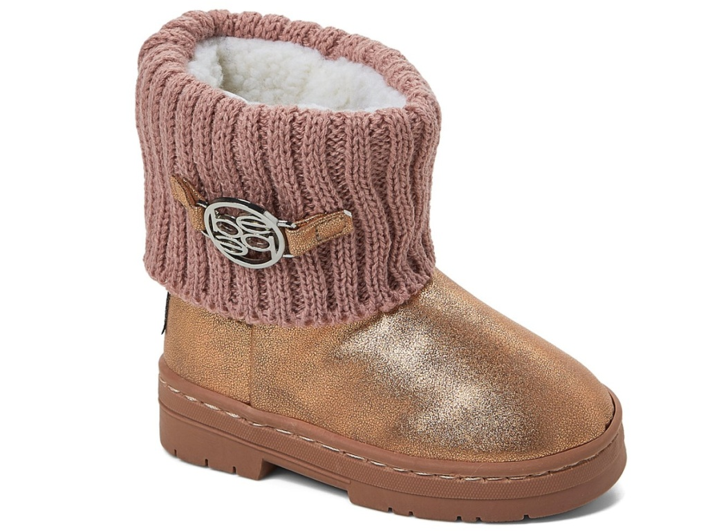 rose gold boots with cable-knit cuff