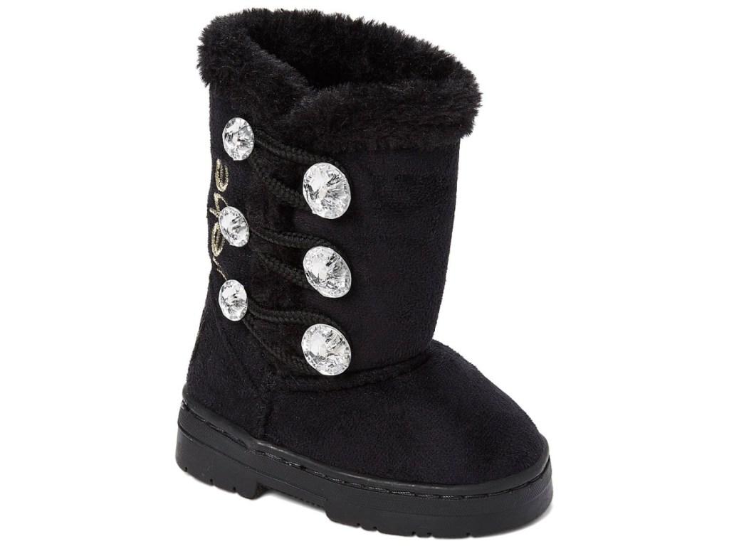 black snow boots with diamond rhinestones