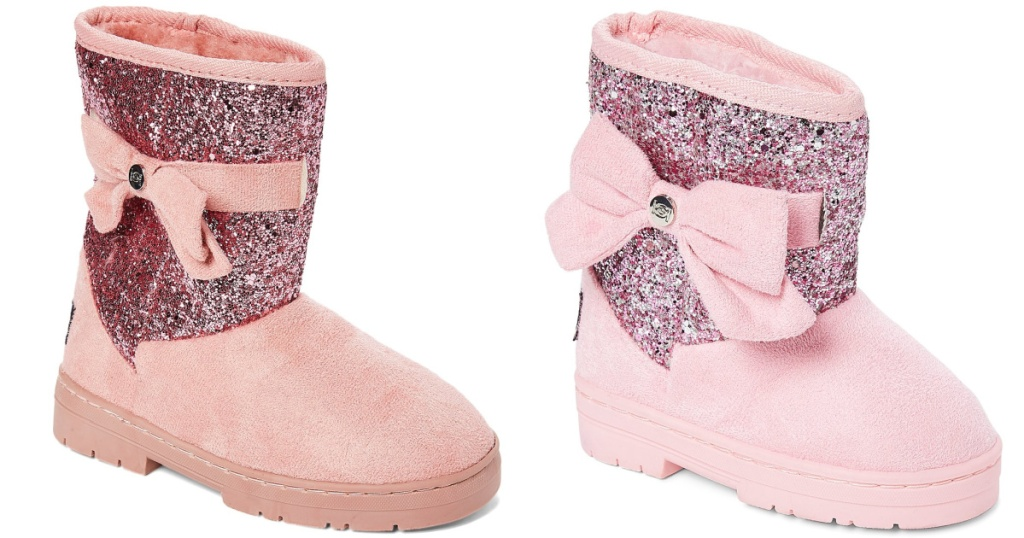 girls and toddler blush boots with pink glitter and pink bows