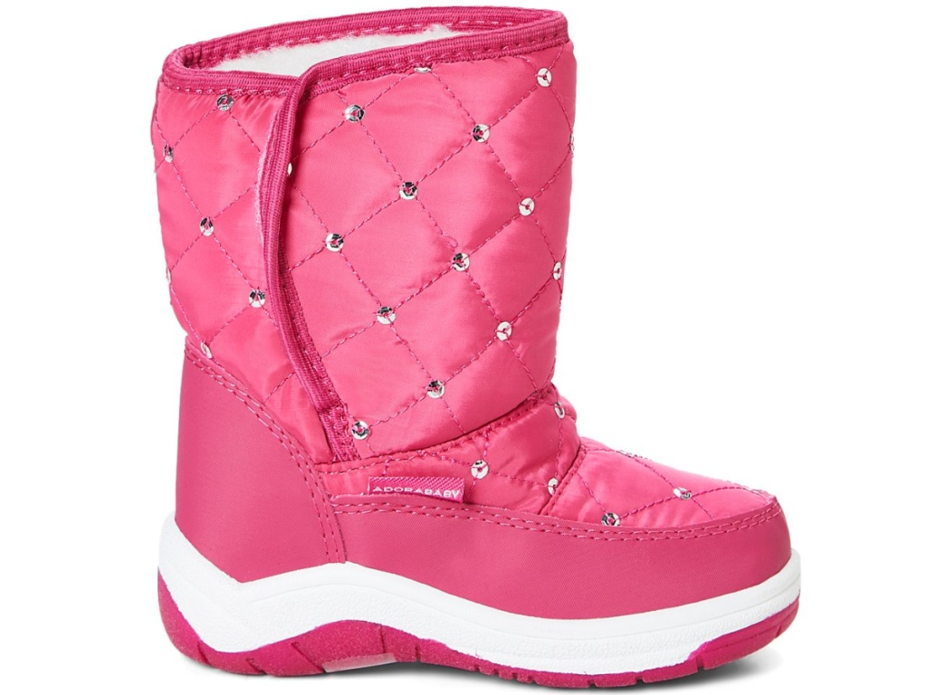 pink snow boots with rhinestones