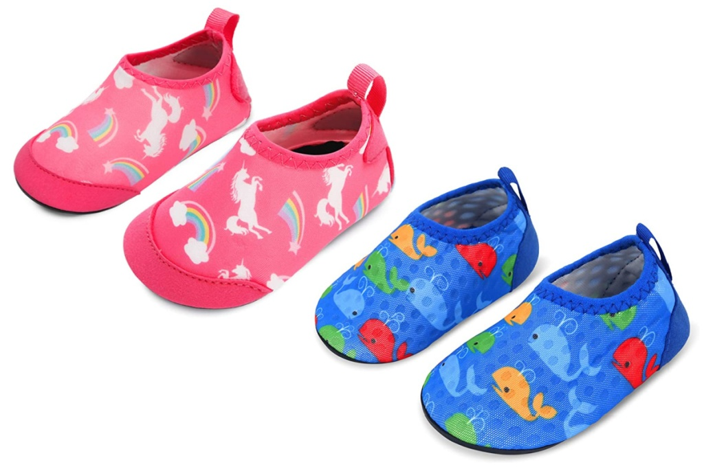 2 water shoes unicorn and fish print